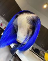 Ulovewigs Human Virgin Hair Blue Bob Pre Plucked Lace Front Wig  Free Shipping(ULW0101)