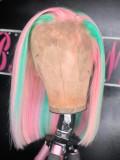 Ulovewigs Pre Plucked Human Virgin Hair  Light Pink  bob wigs (ULW0016)