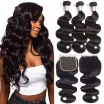 Ulovewigs 300% Density Pre Plucked Body Wave Closure Wigs Made By Human Hair Bundles and Clousure(4*4) With Free Shipping(ULW0054)