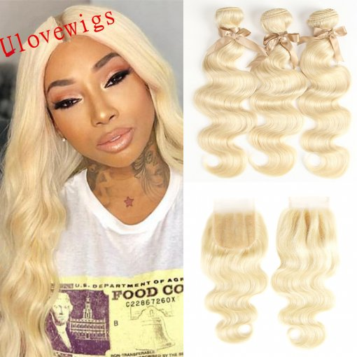 Ulovewigs 300% Density Pre Plucked 613 Body Wave Closure Wigs Made By Human Hair Bundles and Clousure(4*4) With Free Shipping(ULW0056)