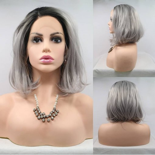 Ulovewigs Human Virgin Hair Gray Pre Plucked Lace Front Wig And Full Lace Wig For Black Woman Free Shipping (ULW0115)