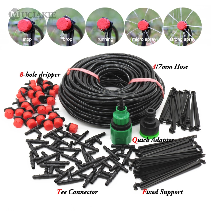 Self Garden Irrigation Watering Kits Micro Drip Mist Spray Cooling System 50M