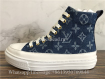 Women Louis Vuitton High Top Sneaker Blue Denim