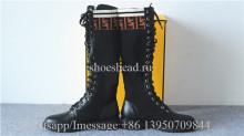 Fendi Women's Leather & Knit Combat Knee Boots Black