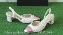 Chanel Slingback Block-Heel Pumps Stitching Wool Apricot Pink