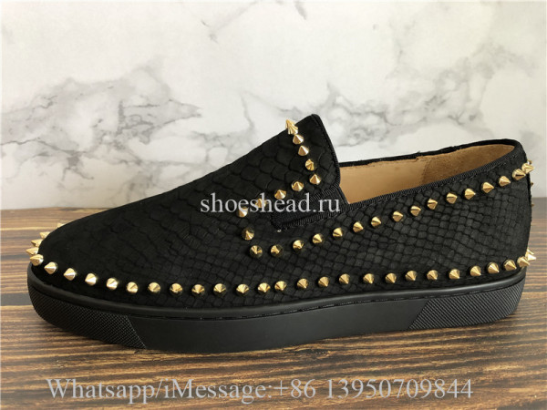 Christian Louboutin Low Spikes Python Leather Pik Boat Flat Black