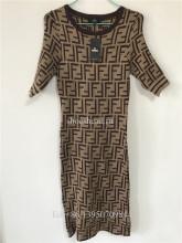 Fendi Social Pop Digital Print Double F knitting Dress