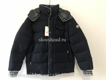 Moncler Montgenevre Quilted Down Fill Puffer Blue Wool Jacket