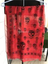 Alexander McQueen Red Silk Black Skull Scarf