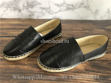 Chanel Black Espadrilles Lambskin Flats Shoes