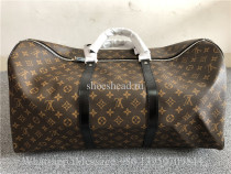 LV Louis Vuitton Brown Leather Monogram Duffle Luggage Travel Bag