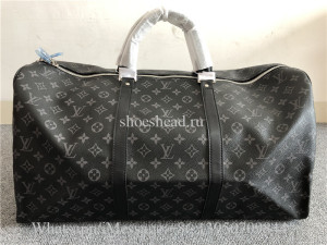 Louis Vuitton Black Leather Travel Bag