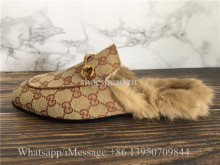 Gucci Princetown Fur-Lined GG Canvas Slippers
