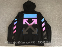Off White Co Virgil Abloh 18FW Hoodie Black Gradient Rainbow