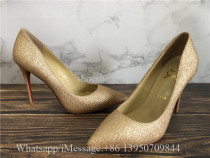 Christian Louboutin So Kate Glitter Golden Heels Pumps