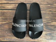 Balenciaga Black And White Logo Rubber Slides