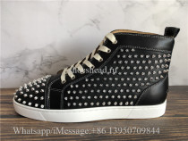Christian Louboutin Orlato Flat High Top Sneaker Black Leather Studs