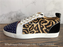 Christian Louboutin Louis Junior Spikes Flat Low Top Sneakers Leopard Navy White
