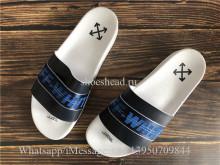 Off White Blue Stripe Black White Slides