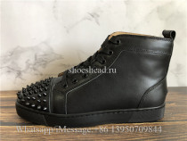 Christian Louboutin Spike Flat High Top Sneaker Black Leather