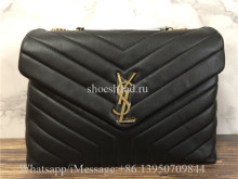 Original YSL Saint Laurent Envelope Shoulder Bag Matelasse Grained Leather Gold-tone