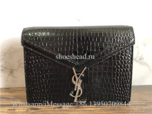 Original Quality Saint Laurent YSL Crocodile Embossed Black Patent Bag