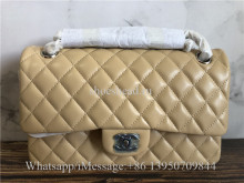 Original Chanel Matelasse 25 Classic Flap Bag Beige Lambskin Medium W Chain Shoulder Bag