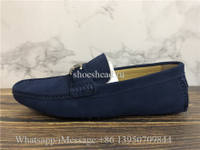 Louis Vuitton Classic Hockenheim moccasin Shoes Navy Blue Suede