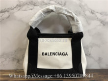 Original Balenciaga Cabas Small Leather-Trimmed Canvas Tote Bag 25CM