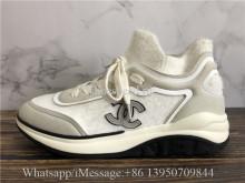 Chanel Fabric Suede Calfskin TPU White Sneaker