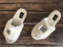 Chanel White Fur Slipper