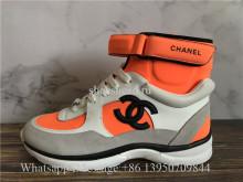 Chanel White Orange CC Logo High Top Sneaker
