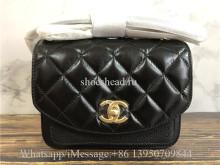 Original Chanel Lambskin Black Small Shoulder Bag 19cm