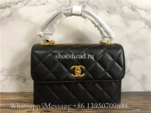 Original Chanel Lambskin Black Small Flap Bag With Top Handle