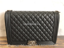 Original Chanel Boy Bag Quilted Caviar Silver-tone Old Large Black
