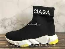 Balenciaga Speed Logo Black White Yellow Trainer
