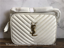 Original Saint Laurent YSL Lou Medium Quilted White Leather Shoulder Bag