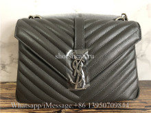 Original Saint Laurent YSL College Medium Matelassé Leather Shoulder Bag