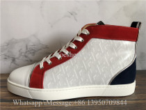 Christian Louboutin Flat High Top Sneaker White Red Blue