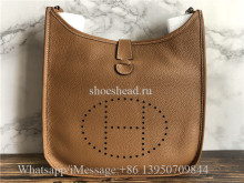 Original Hermes Evelyne I GM Gold Brown Togo Leather Crossbody Bag