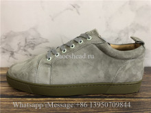 Christian Louboutin Flat Low Top Sneaker Grey Suede Brown Sole