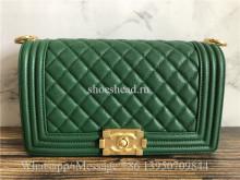 Original Chanel Caviar Quilted Medium Boy Flap Green Bag