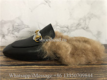 Gucci Princetown Fur Lined Black Slipper Loafer Slides