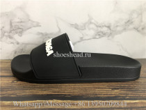 Balenciaga Black Slide With White Logo