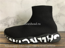 Balenciaga Speed Graffiti Trainers Black With White  Logo