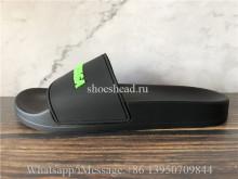 Balenciaga Black Slide With Green  Logo