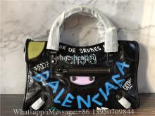 Original Balenciaga Graffiti Classic City Mini Leather Bag Ss20