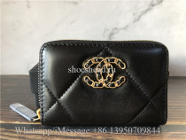 Original Quality Chanel Black Leather Wallet With Golden Chanel Logo