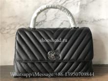 Original Chanel Coco Handle Quilted Chevron Caviar So Black Bag