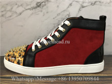 Christian Louboutin Spike Flat High Top Sneaker Red Black